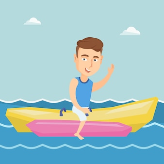 Turyści jedzie bananową łódkowatą wektorową ilustrację.