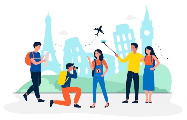Turyści są na ilustracji koncepcji podróży płaskiej zwiedzania. ludzie robią zdjęcia i selfie na pamiątkę. biura podróży, branża rekreacyjna, linie lotnicze, wycieczki indywidualne i grupowe