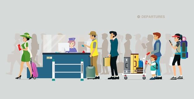 Turyści ustawiają się w kolejkach po bilety lotnicze na szarym tle