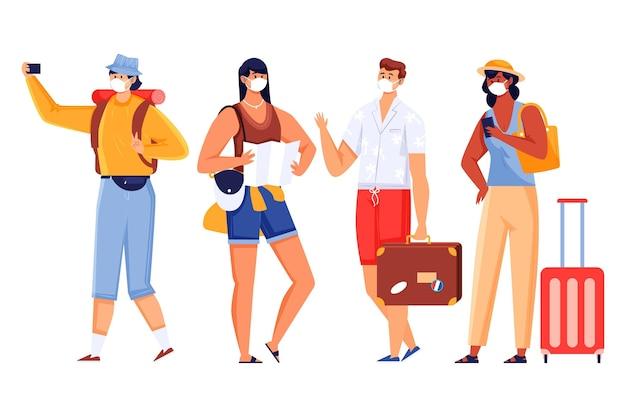 Turyści w maskach na twarz