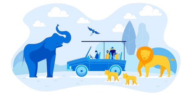 Turyści w samochodzie i słoniu, lion family, papuga