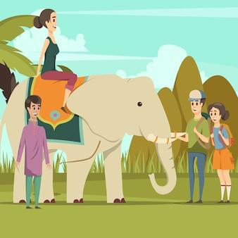 Turyści Ze Słoniem Indyjskim Darmowych Wektorów
