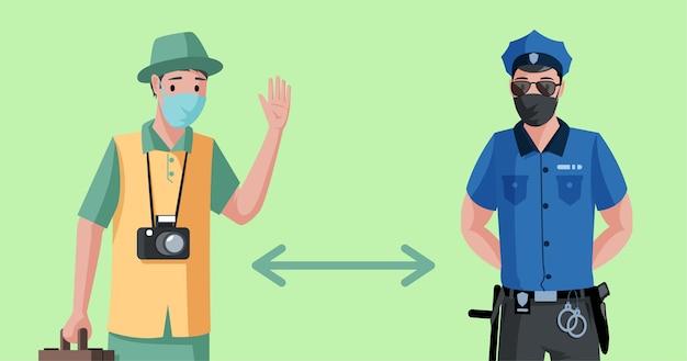 Turysta i policjant w ochronnych maskach na twarz zachowują dystans społeczny