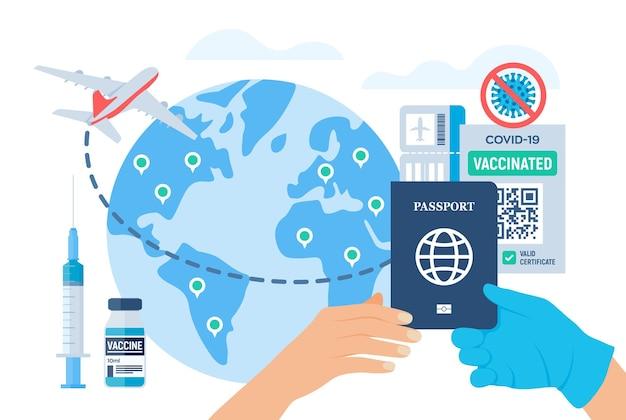 Turysta otrzymuje na podróż paszport immunitetu i dowód szczepień. zaświadczenie o szczepieniu na koronawirusa covid-19 lub paszport zdrowia w przypadku podróży międzynarodowych. ilustracja wektorowa.