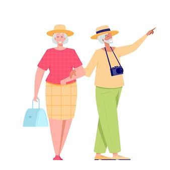 Turysta para starszych osób podróżujących z aparatem. ilustracja letniej turystki charakter emeryta kobieta i mężczyzna