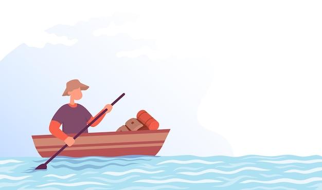 Turysta płynie łodzią koncepcja stylu życia aktywność na świeżym powietrzu kolor kreskówka płaski wektor