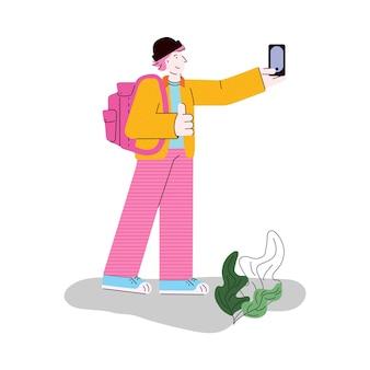 Turysta sprawia, że zdjęcie selfie na telefon płaski na białym tle kreskówka wektor ilustracja