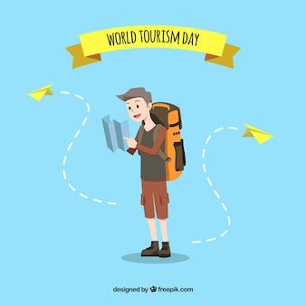 Turysta szukający miejsca przeznaczenia, dzień turystyki światowej