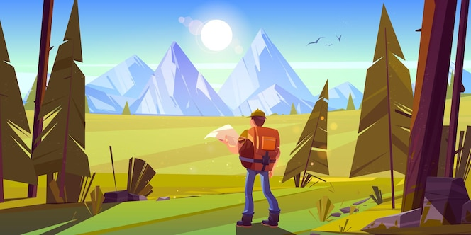 Turysta w lesie z górami na horyzoncie