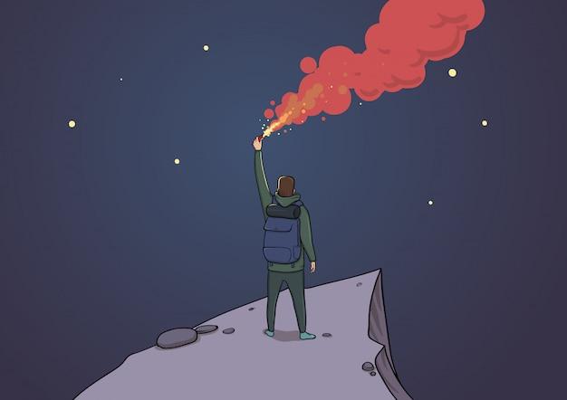 Turysta z flarą na górze patrząc na gwiazdy. backpacker na skale wysyłający sos. latarka w nocy. niebo pełne gwiazd. postać z kreskówki ilustracja pozioma. sztuka konceptualna.