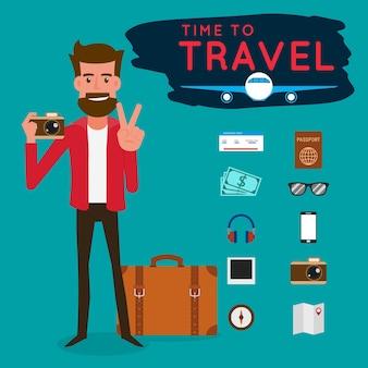 Turysta z gadżetem na podróż
