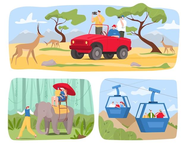 Turystów podróżują w zestawie ilustracji wycieczki
