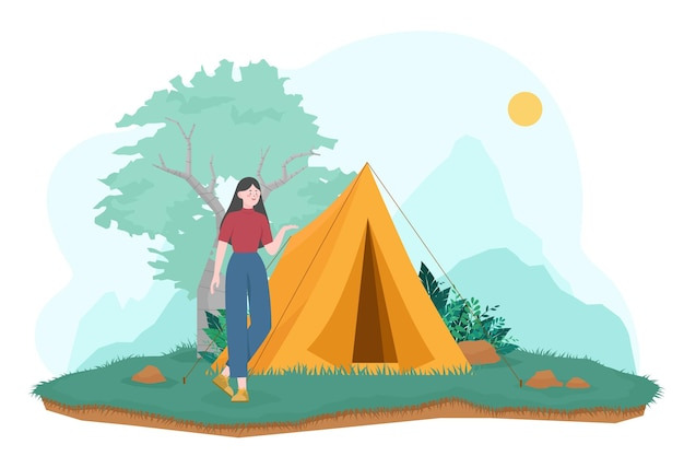 Turystyczna kobieta stoi przed namiotem kempingowym, ilustracja kempingowa przygoda na świeżym powietrzu.