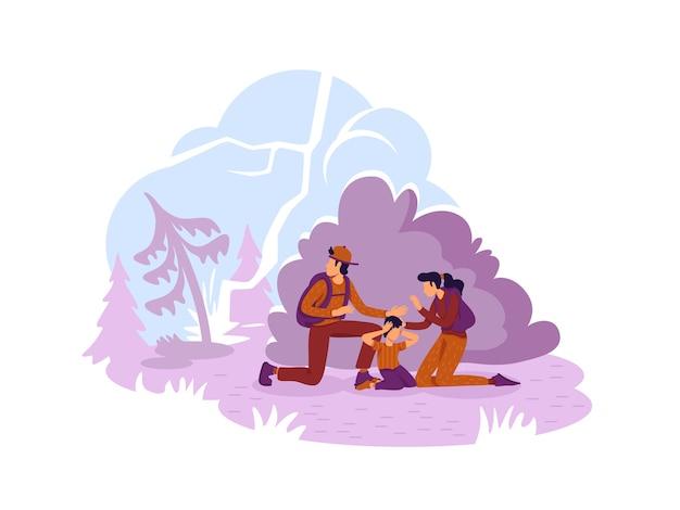Turystyczna rodzina uciekająca od płonących leśnych płaskich postaci na tle kreskówki
