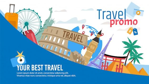 Turystyczna trasa lub wycieczka płaski sztandar promocyjny