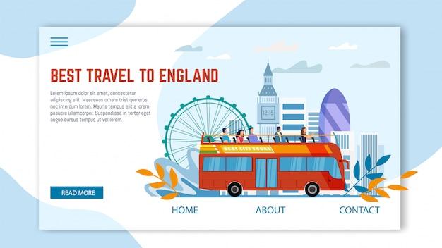 Turystyczna wycieczka do płaskiej strony internetowej w anglii
