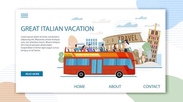 Turystyczna wycieczka do włoch flat web banner