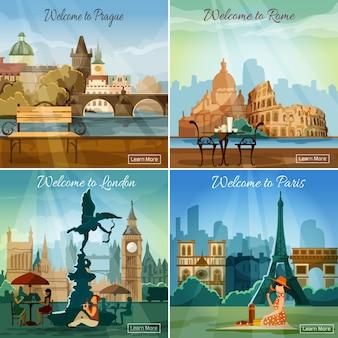 Turystyczne miasta 4 ikony płaski skład