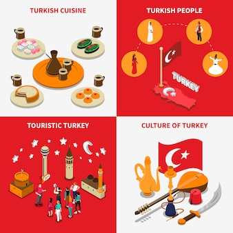 Turystyczne turcja 4 izometryczne ikony placu
