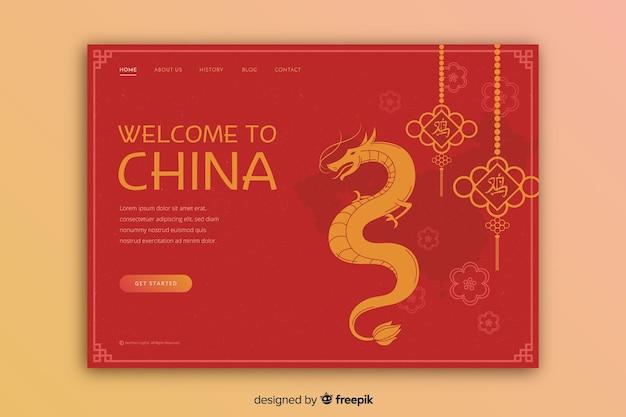 Turystyczne zaproszenie do chińskiego szablonu