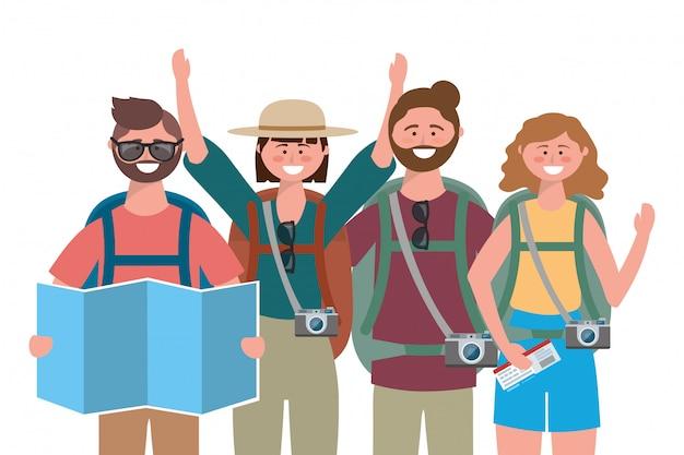 Turystyczni chłopcy i dziewczęta z projektowaniem toreb
