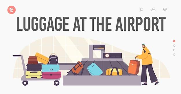 Turystyczny charakter kobiecego bagażu roszczenia w szablonie strony docelowej lotniska. przylot, odlot, turystyka. kobieta biorąc bagaż na karuzeli po locie samolotem. ilustracja wektorowa kreskówka ludzie