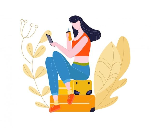 Turystyczny dziewczyny obsiadanie na bagażu w airportmaking selfie przed podróżować, podróż odizolowywająca na białej płaskiej ilustraci.