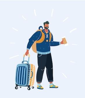 Turystyczny hipster mężczyzna