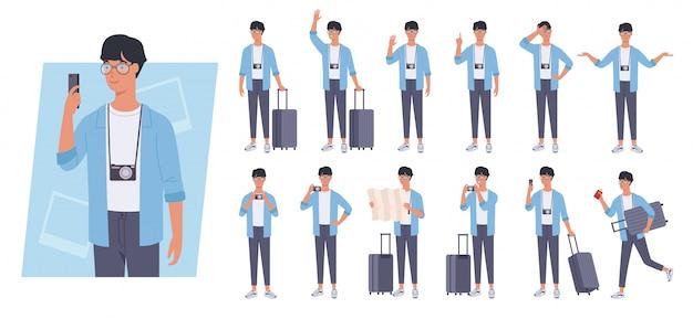 Turystyczny mężczyzna z zestawu znaków bagażu. różne pozy i emocje.