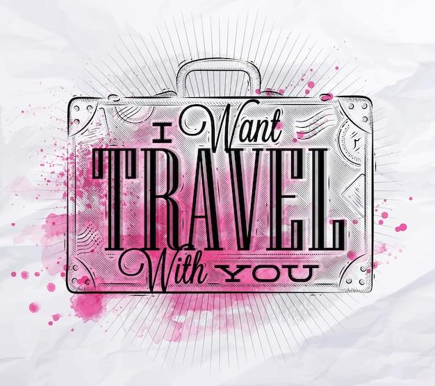 Turystyczny plakat walizka różowy