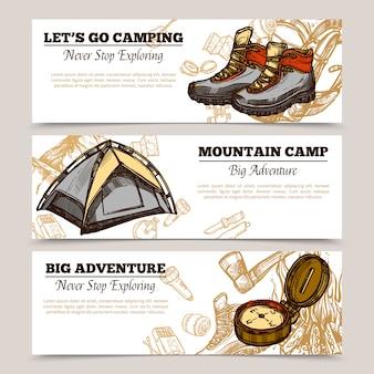 Turystyka camping piesze wycieczki banery