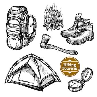 Turystyka camping piesze wycieczki szkic zestaw