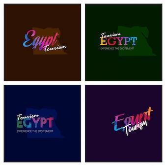 Turystyka egipt typografia logo zestaw tło
