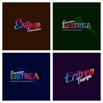 Turystyka erytrea typografia logo zestaw tło