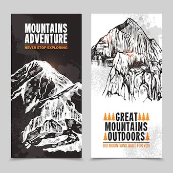 Turystyka górska 2 pionowe banery