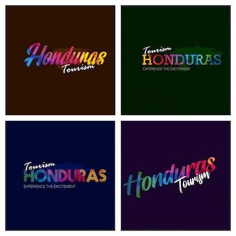Turystyka honduras typografia logo tło zestaw