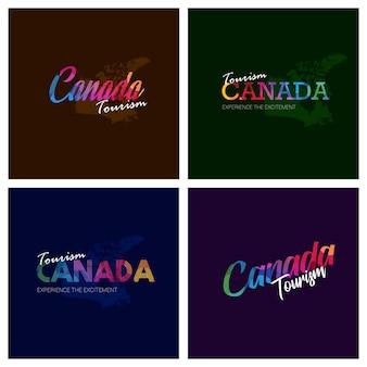 Turystyka kanada typografia logo zestaw tło
