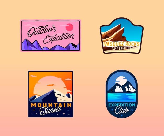 Turystyka, kemping, plakietki zewnętrzne. logo retro vintage wilderness, herby