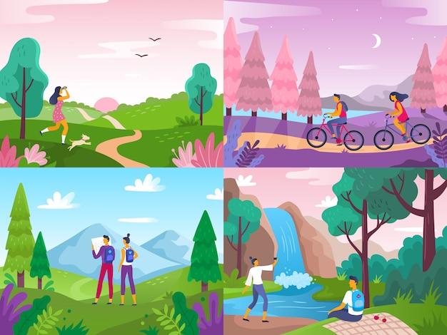 Turystyka na łonie natury. alpinistów podróżnicy, podróż bada krajobraz i podróżuje sport odpoczywają płaską ilustrację