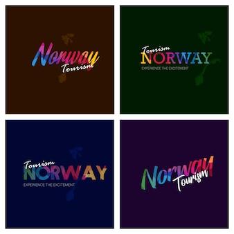 Turystyka norwegia typografia logo zestaw tło