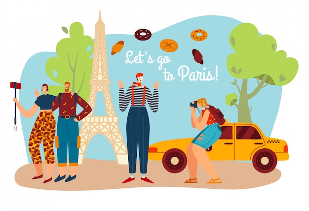 Turystyka podróżuje do paryża, francuski mim z ręcznikiem eifel, a turyści robią zdjęcia symbolom kultury francji i architektury krajobrazu kreskówki.