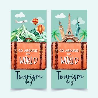 Turystyka projekt ulotki góra, eifel, wieża zegarowa, statua wolności.