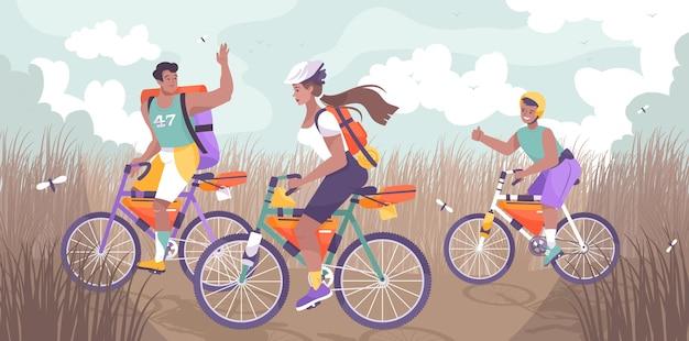 Turystyka rowerowa rodzinna płaska i kolorowa kompozycja grupy ludzi chodzących na rowerach