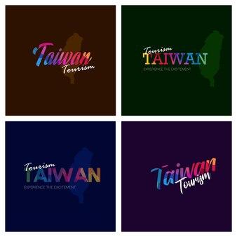 Turystyka tajwan typografia logo tło zestaw