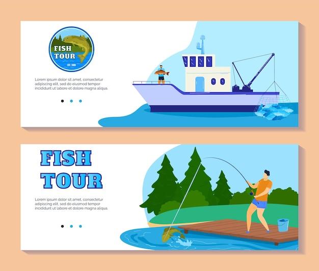 Turystyka wędkarska lub ilustracja przygoda sport połowu ryb.