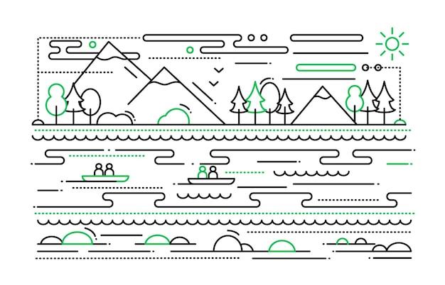 Turystyka wodna - prosta ilustracja liniowa z górskim krajobrazem, rzeką, ludźmi w łodziach