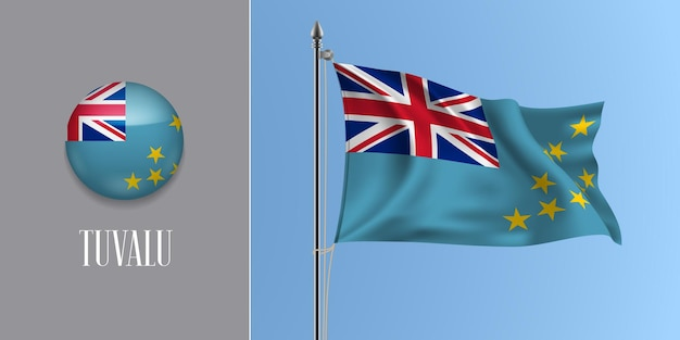 Tuvalu macha flagą na maszcie i okrągłą ikonę. realistyczne 3d przycisku okręgu