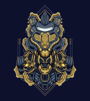 Twardy humanoidalny wojownik robot maskotka ilustracja wektorowa
