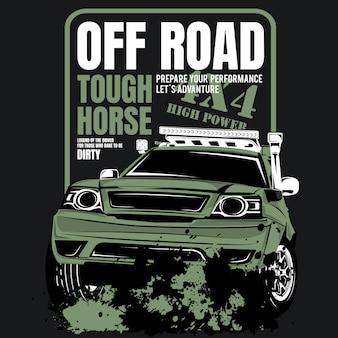 Twardy koń terenowy, plakat samochodu sportowego 4wd
