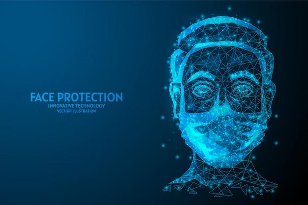 Twarz chroniona przez zbliżenie maski medycznej. zakażenie koronawirusem covid-19, zanieczyszczenie powietrza, kwarantanna, innowacyjna technologia medyczna.
